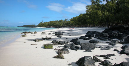 Sandy beaches in Mauritius island
